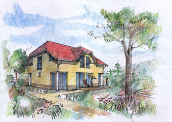 Dream of an architect. Idea of house with a garden
