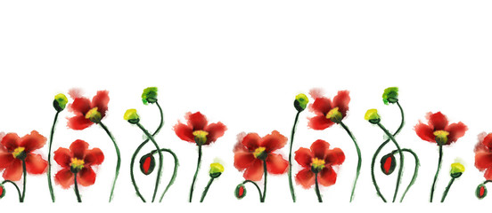 Watercolor Poppies Banner