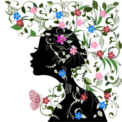 Poster Floral woman Floral hairstyle, girl and butterfly