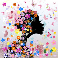 Printed roller blinds Floral woman Floral hairstyle, girl and butterfly