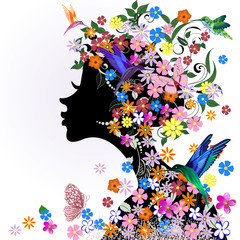 Fototapete - Floral hairstyle, girl and butterfly bird