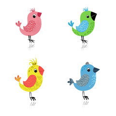 set cartoon birds