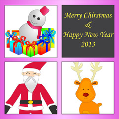 merry christmas with  reindeer and giftbox from santa-claus