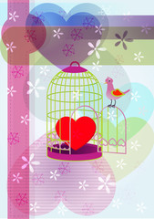 Printed roller blinds Birds in cages heart&cage