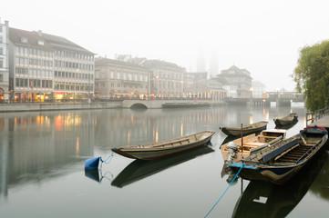 Boats along the river Limmat, Zurich.
