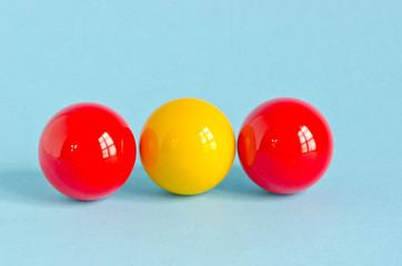 three colorful billiards balls