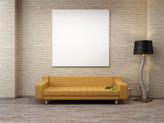 Modernes Industrie Loft Leinwand Sofa Tablet 3D