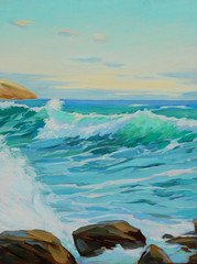 mediterranean landscape with turquoise wave, illustration, paint