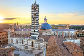 Foto op Canvas Toscane Siena sunset panoramic view. Cathedral Duomo landmark. Tuscany,