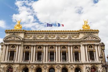 Architectural details of Opera National de Paris: Front Facade.