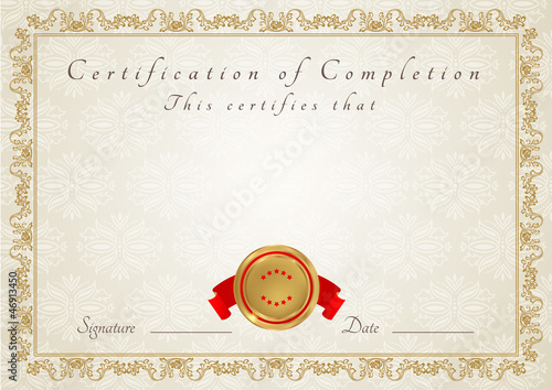 Certificate of completion template diploma stock image and certificate of completion template diploma yadclub Choice Image