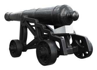 Isolated on white vintage cannon