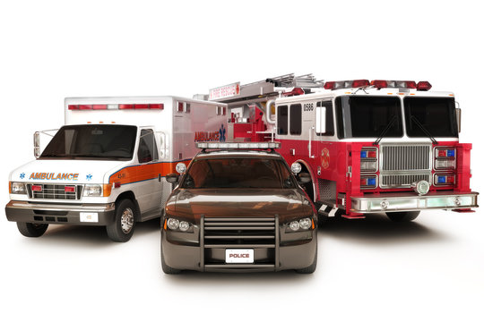 First responder vehicles, on a  white background