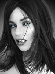 Female vampire, black and white image with colored blue eyes