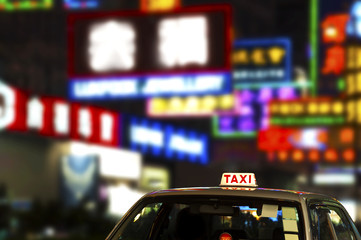 Deurstickers Hong-Kong Taxi in Hong Kong