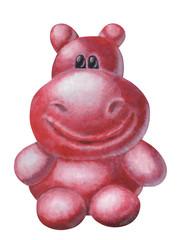 Knuffiger, pinker Hippo von vorne – freigestellt