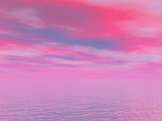 sky pink and blue and sea
