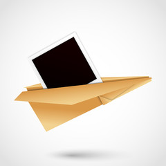 Paper Airplane with polaroid frame. vector