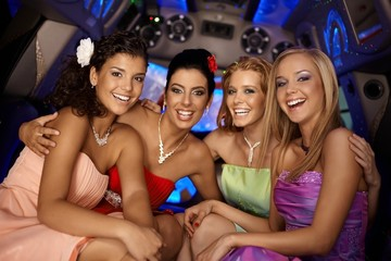 Beautiful party girls smiling