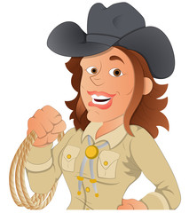 Cowgirl - Vector Character Illustration