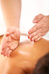 Close up of relaxing spa massage