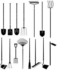 Silhouette set of long handled gardening tools