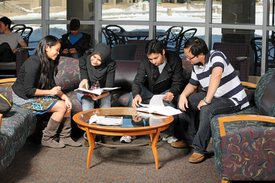 Diverse group of students studing