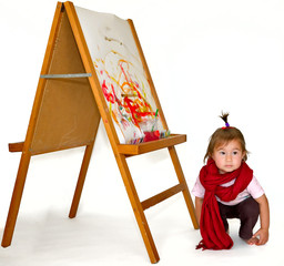 Small girl painting