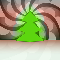 round shape christmas tree on shaded circle swirl vector card