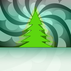 christmas tree silhouette on green circle swirl vector card