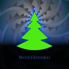 tree shape designed on blue triangle swirl christmas vector card