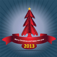 Abstract vector background with christmass tree