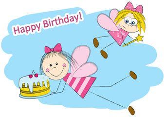Birthday card with cute fairies