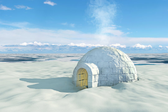 Nordic landscape with igloo