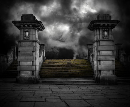 Spooky old sandstone graveyard entrance
