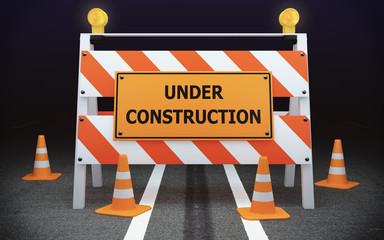 Under Construction traffic barricade