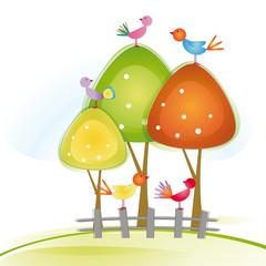 Poster de jardin Oiseaux, Abeilles Birds