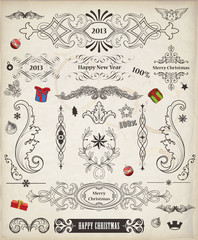 Christmas Vintage Vector Pack of decorative elements