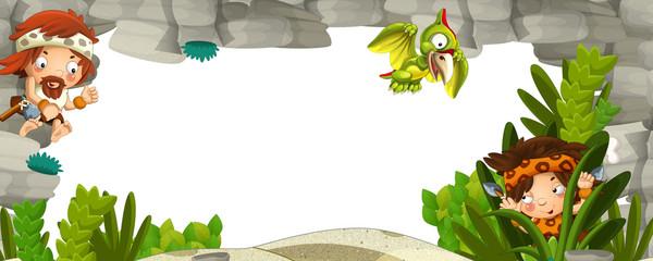 The stone age border - illustration for the children