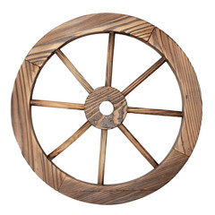 Old wooden wagon wheel on white