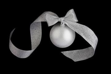 Christmas decoration silver ball on black