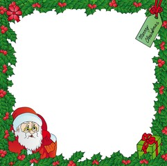 Mistletoe frame with Santa