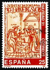 Postage stamp Spain 1991 The Nativity, Illustration from the Boo