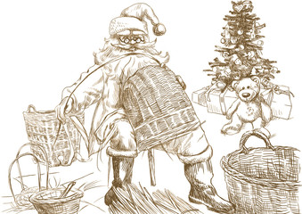 Santa Claus making baskets - Homemade Xmas