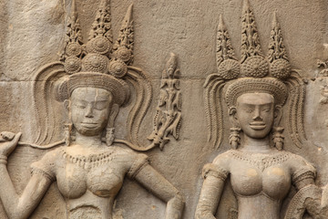 Two apsaras on the wall of Angkor wat, Cambodia