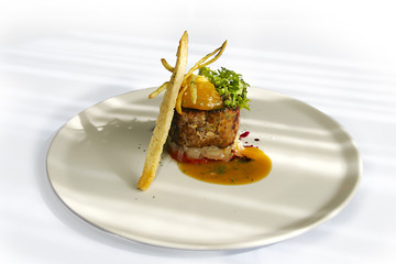 duck burger with peach jelly