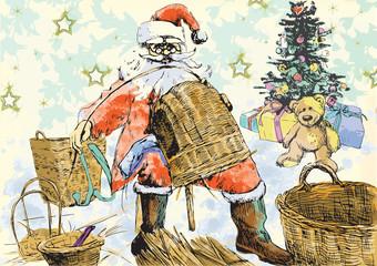 Santa Claus making baskets - Homemade Xmas
