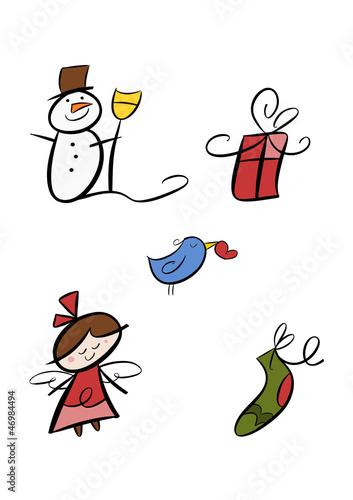 Buntes clipart set winter und weihnachten stockfotos - Clipart weihnachten ...