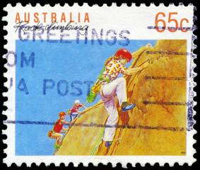 AUSTRALIA - CIRCA 1990 Rock climbing