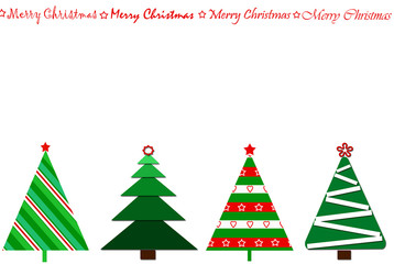 card design with a row of christmas trees  and greetings